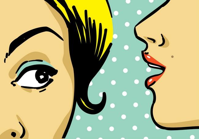 woman telling secrets, pop art retro style illustration